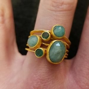 Kevia Emerald Stack Rings